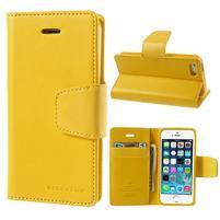 Peněženkové koženkové pouzdro na iPhone 5s a iPhone 5 - žluté