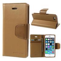 Peněženkové koženkové pouzdro na iPhone 5s a iPhone 5 - coffee