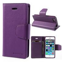 Peněženkové koženkové pouzdro na iPhone 5s a iPhone 5 - fialové