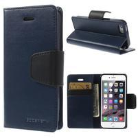 Peněženkové koženkové pouzdro na iPhone 5s a iPhone 5 - tmavěmodré