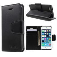 Peněženkové koženkové pouzdro na iPhone 5 a iPhone 5s - černé