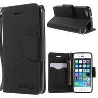 Dvoubarevné peněženkové pouzdro na iPhone 5 a 5s - černé/ černé