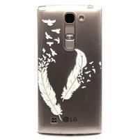 Průhledný gelový obal na LG G4c - ptačí pírka