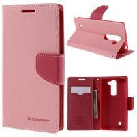 Diary PU kožené pouzdro na LG G4c - růžové