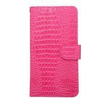 Crocostyle PU kožené univerzálne puzdro na mobily do rozmeru 16,3 x 8,3 x1,8 cm - rose