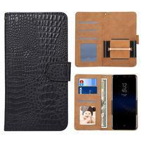 Croco PU kožené univerzálne puzdro na mobily do rozmeru 15,7 x 8 x1,8 cm - čierne