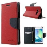 Diary PU kožené pouzdro na Samsung Galaxy A3 - červené