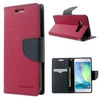 Diary PU kožené pouzdro na Samsung Galaxy A3 - rose
