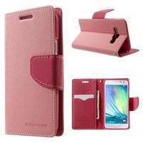 Diary PU kožené pouzdro na Samsung Galaxy A3 - růžové