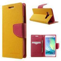 Diary PU kožené pouzdro na Samsung Galaxy A3 - žluté