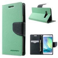 Diary PU kožené pouzdro na Samsung Galaxy A3 - cyan