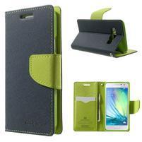 Diary PU kožené pouzdro na Samsung Galaxy A3 - tmavěmodré