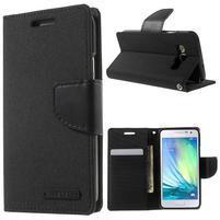 Luxury textilní/koženkové pouzdro na Samsung Galaxy A3 - černé