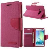 Luxury textilní/koženkové pouzdro na Samsung Galaxy A3 - rose
