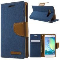 Luxury textilní/koženkové pouzdro na Samsung Galaxy A3 - modré