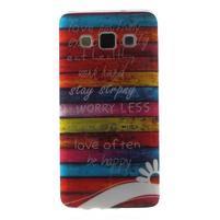 Gelový obal na mobil Samsung Galaxy A3 - barvy dřeva