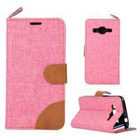 Jeans textilní/koženkové pouzdro na Samsung Galaxy Core Prime - růžové