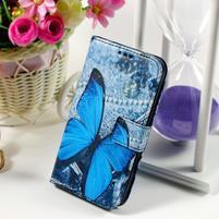 Pouzdro na mobil Samsung Galaxy Core Prime - modrý motýl