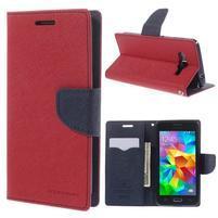 Diary PU kožené pouzdro na mobil Samsung Galaxy Grand Prime - červené