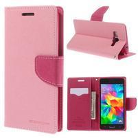 Diary PU kožené pouzdro na mobil Samsung Galaxy Grand Prime - růžové