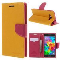 Diary PU kožené pouzdro na mobil Samsung Galaxy Grand Prime - žluté