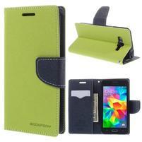 Diary PU kožené pouzdro na mobil Samsung Galaxy Grand Prime - zelené