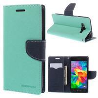 Diary PU kožené pouzdro na mobil Samsung Galaxy Grand Prime - cyan