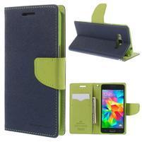 Diary PU kožené pouzdro na mobil Samsung Galaxy Grand Prime - tmavěmodré