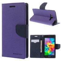 Diary PU kožené pouzdro na mobil Samsung Galaxy Grand Prime - fialové