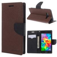 Diary PU kožené pouzdro na mobil Samsung Galaxy Grand Prime - hnědé