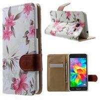 Květinové koženkové pouzdro na Samsung Galaxy Grand Prime - bíllé pozadí