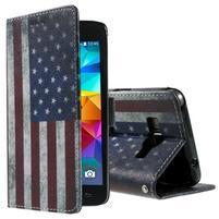 Wallet PU kožené pouzdro na mobil Samsung Galaxy Grand Prime - US vlajka