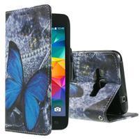 Wallet PU kožené pouzdro na mobil Samsung Galaxy Grand Prime - modrý motýl