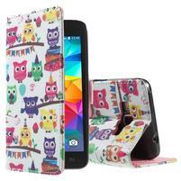 Wallet PU kožené pouzdro na mobil Samsung Galaxy Grand Prime - sovičky