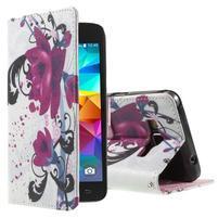 Wallet PU kožené pouzdro na mobil Samsung Galaxy Grand Prime - květy