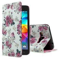 Wallet PU kožené pouzdro na mobil Samsung Galaxy Grand Prime - květiny