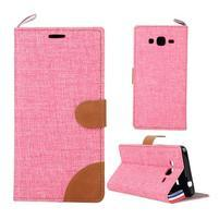 Jeans koženkové/textilní pouzdro pro Samsung Galaxy Grand Prime - růžové