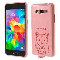 Kočička Domi kryt s PU koženými zády pro Samsung Galaxy Grand Prime - růžový