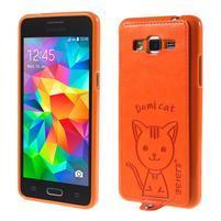 Kočička Domi kryt s PU koženými zády pro Samsung Galaxy Grand Prime - oranžový