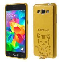 Kočička Domi kryt s PU koženými zády pro Samsung Galaxy Grand Prime - žlutý