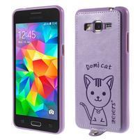 Kočička Domi kryt s PU koženými zády pro Samsung Galaxy Grand Prime - fialový