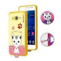 Kočička Domi s PU koženými zády na Samsung Galaxy Grand Prime - žlutý