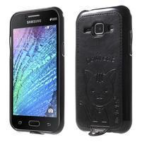 Obal s koženkovými zády a kočičkou Domi pro Samsung Galaxy J1 - černý
