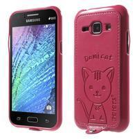 Obal s koženkovými zády a kočičkou Domi pro Samsung Galaxy J1 - magneta