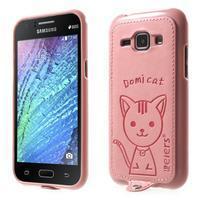 Obal s koženkovými zády a kočičkou Domi pro Samsung Galaxy J1 - růžový