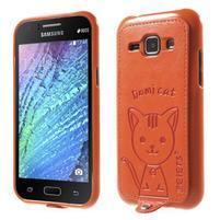 Obal s koženkovými zády a kočičkou Domi pro Samsung Galaxy J1 - oranžový