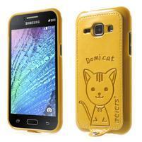 Obal s koženkovými zády a kočičkou Domi pro Samsung Galaxy J1 - žlutý