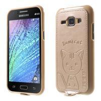 Obal s koženkovými zády a kočičkou Domi pro Samsung Galaxy J1 - zlatý