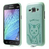 Obal s koženkovými zády a kočičkou Domi pro Samsung Galaxy J1 - azurový