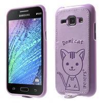 Obal s koženkovými zády a kočičkou Domi pro Samsung Galaxy J1 - fialový